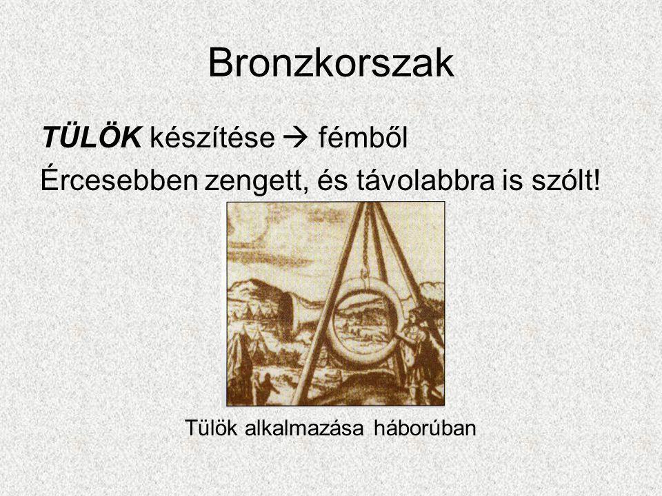 Bronzkorszak TÜLÖK készítése  fémből Ércesebben zengett, és távolabbra is szólt.