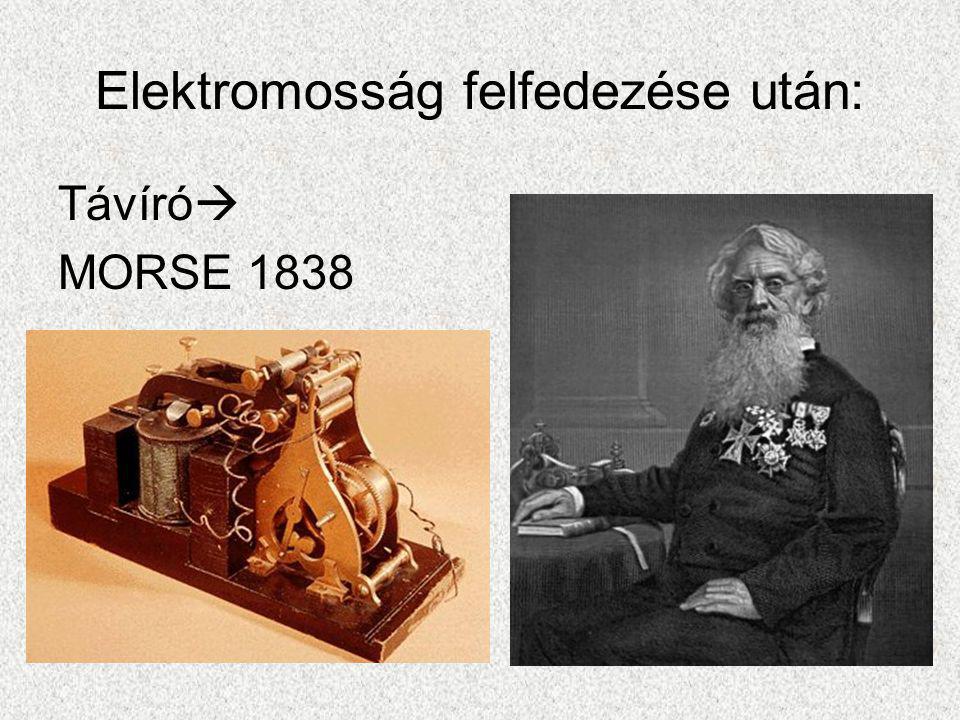 Elektromosság felfedezése után: Távíró  MORSE 1838