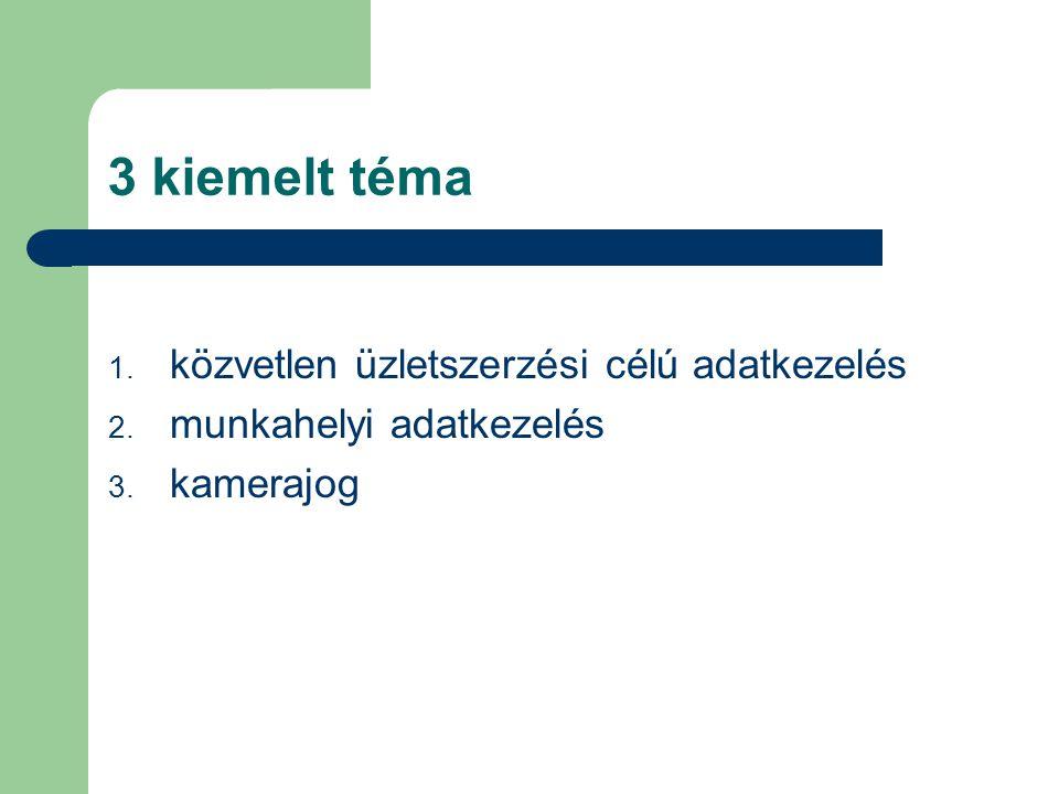 3 kiemelt téma 1. közvetlen üzletszerzési célú adatkezelés 2. munkahelyi adatkezelés 3. kamerajog