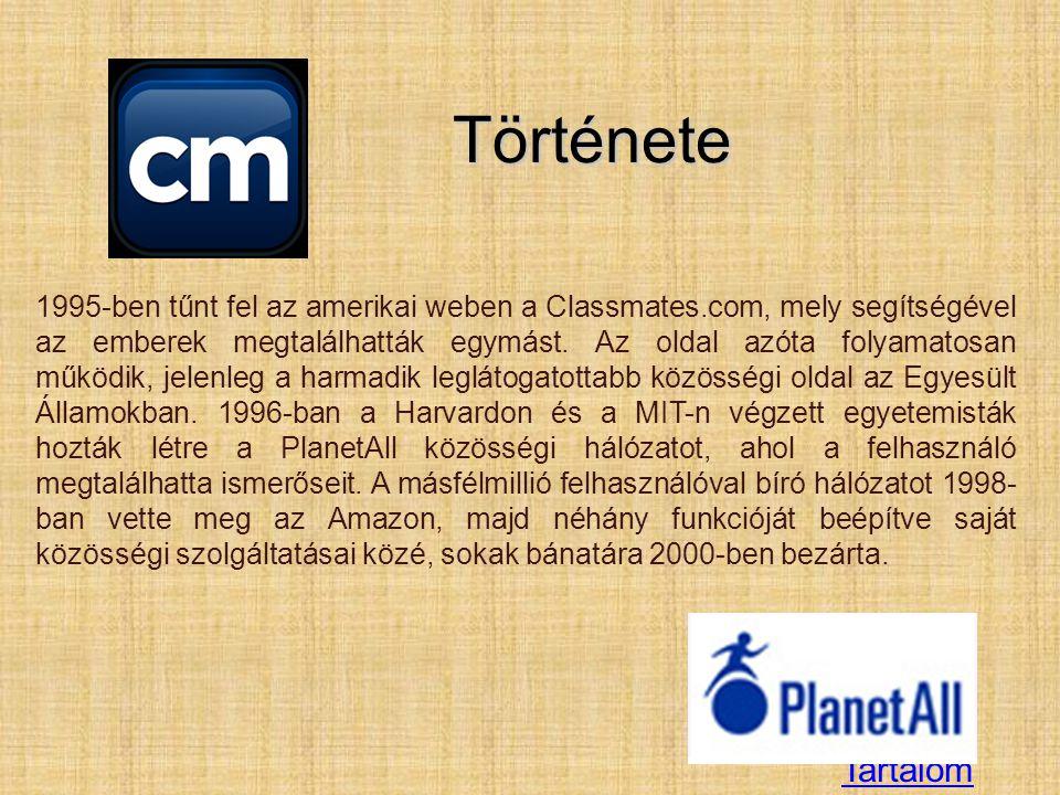 TartalomTörténete 1995-ben tűnt fel az amerikai weben a Classmates.com, mely segítségével az emberek megtalálhatták egymást. Az oldal azóta folyamatos