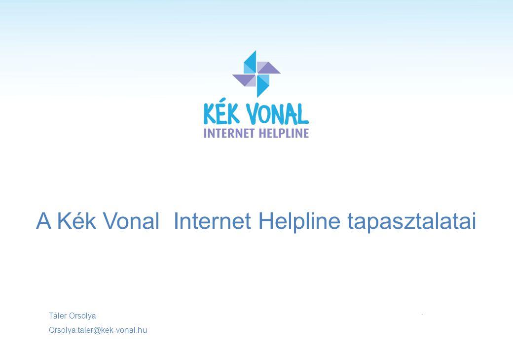 A Kék Vonal Internet Helpline tapasztalatai Táler Orsolya Orsolya.taler@kek-vonal.hu.