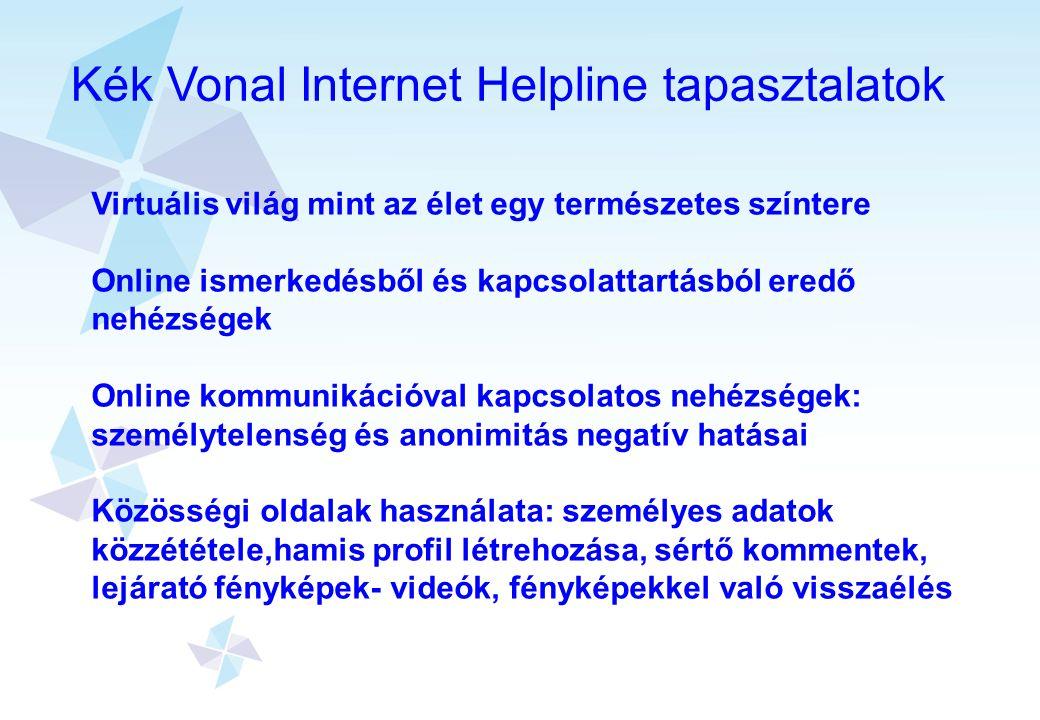 Kék Vonal Internet Helpline tapasztalatok Virtuális világ mint az élet egy természetes színtere Online ismerkedésből és kapcsolattartásból eredő nehéz