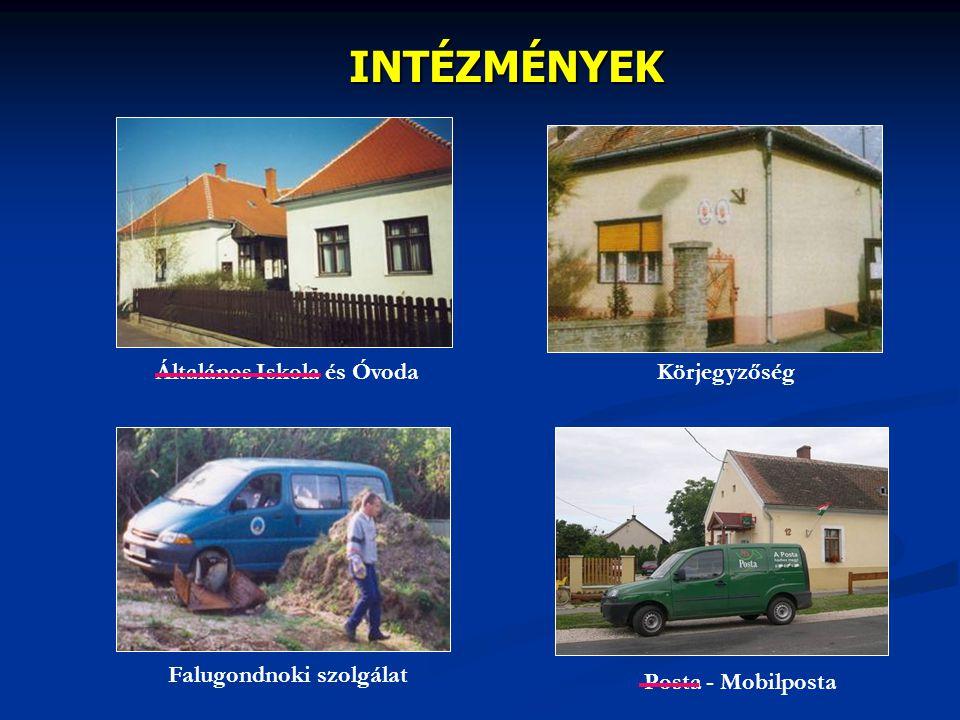 INTÉZMÉNYEK Falugondnoki szolgálat Általános Iskola és Óvoda Posta - Mobilposta Körjegyzőség