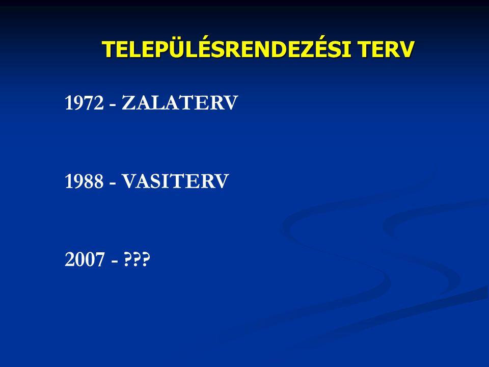 TELEPÜLÉSRENDEZÉSI TERV 1972 - ZALATERV 1988 - VASITERV 2007 - ???