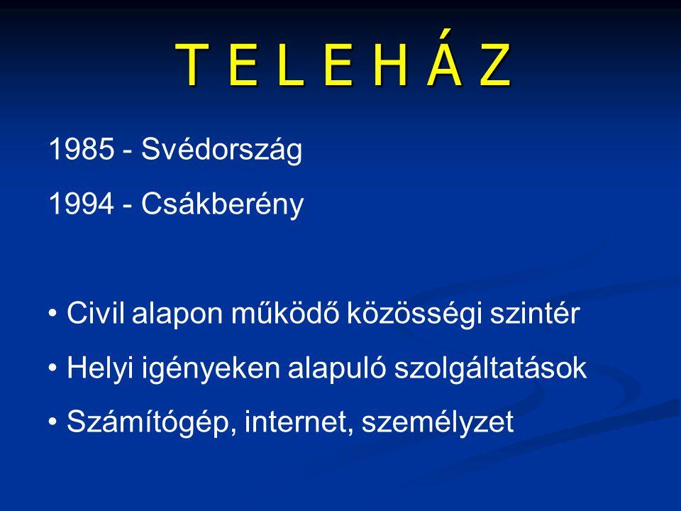 1985 - Svédország 1994 - Csákberény • Civil alapon működő közösségi szintér • Helyi igényeken alapuló szolgáltatások • Számítógép, internet, személyze