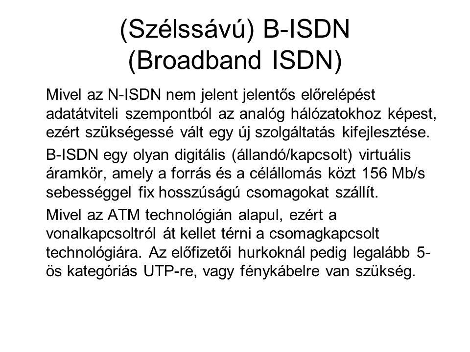 (Szélssávú) B-ISDN (Broadband ISDN) Mivel az N-ISDN nem jelent jelentős előrelépést adatátviteli szempontból az analóg hálózatokhoz képest, ezért szük