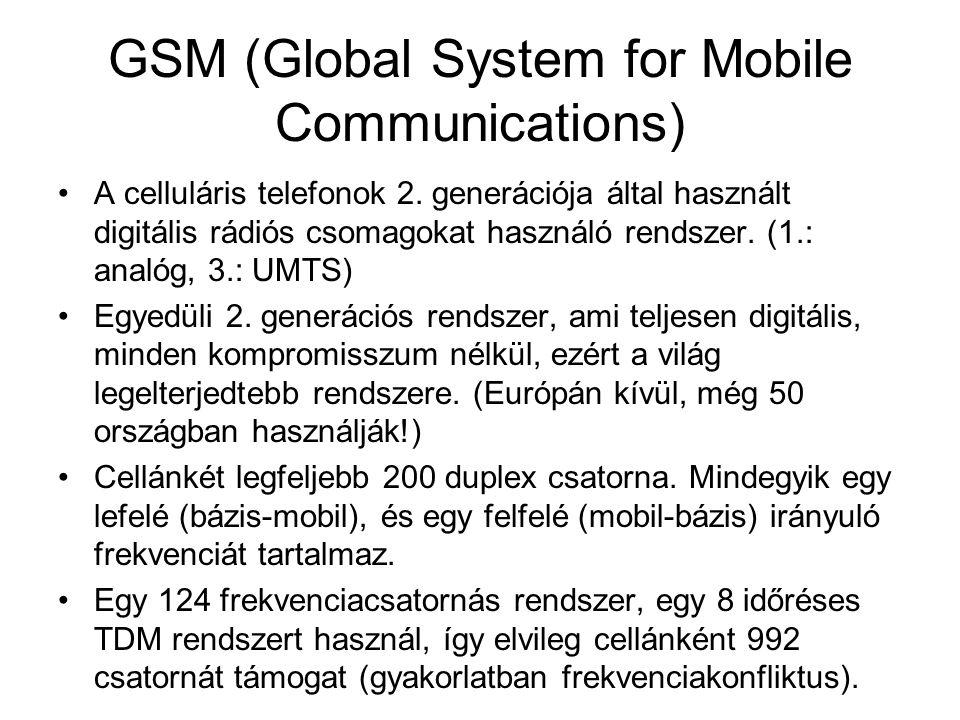 GSM (Global System for Mobile Communications) •A celluláris telefonok 2. generációja által használt digitális rádiós csomagokat használó rendszer. (1.