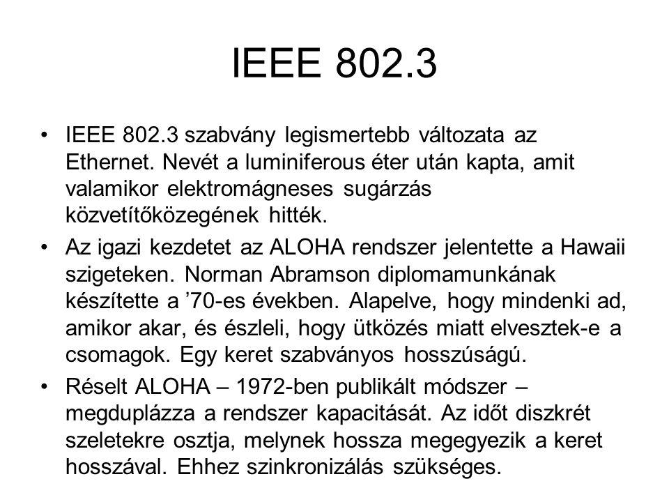 IEEE 802.3 •IEEE 802.3 szabvány legismertebb változata az Ethernet. Nevét a luminiferous éter után kapta, amit valamikor elektromágneses sugárzás közv