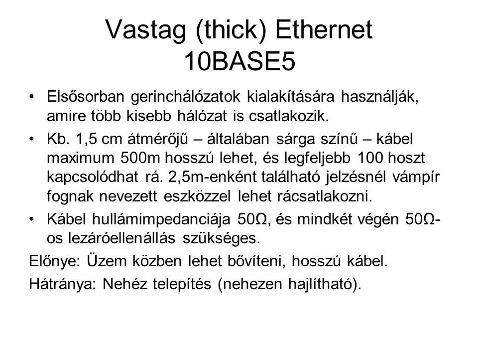 Vastag (thick) Ethernet 10BASE5 •Elsősorban gerinchálózatok kialakítására használják, amire több kisebb hálózat is csatlakozik. •Kb. 1,5 cm átmérőjű –