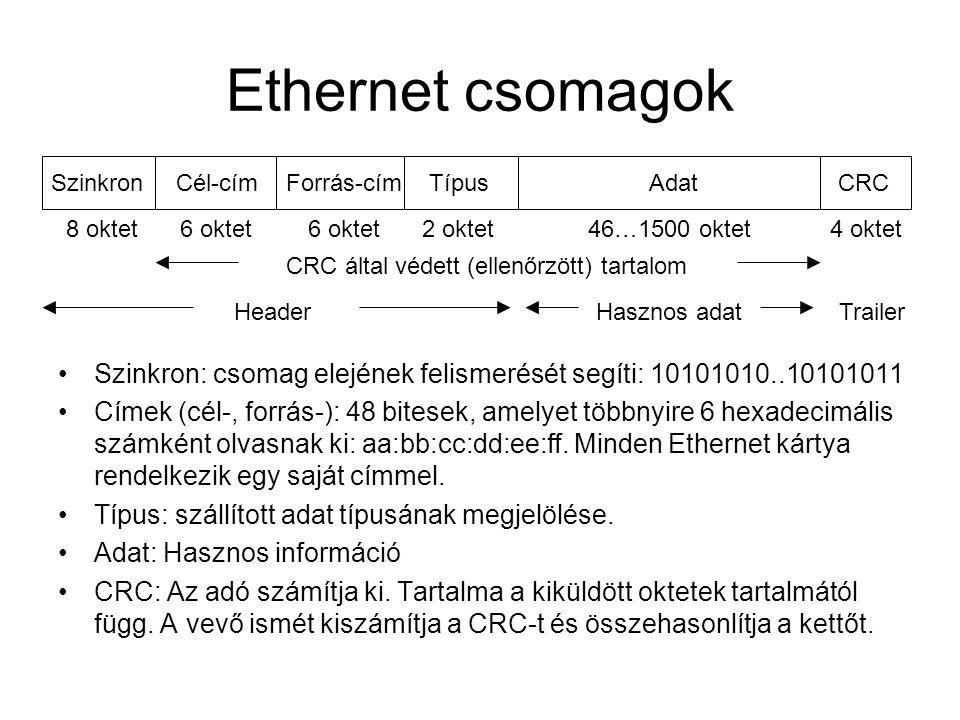 Ethernet csomagok •Szinkron: csomag elejének felismerését segíti: 10101010..10101011 •Címek (cél-, forrás-): 48 bitesek, amelyet többnyire 6 hexadecim