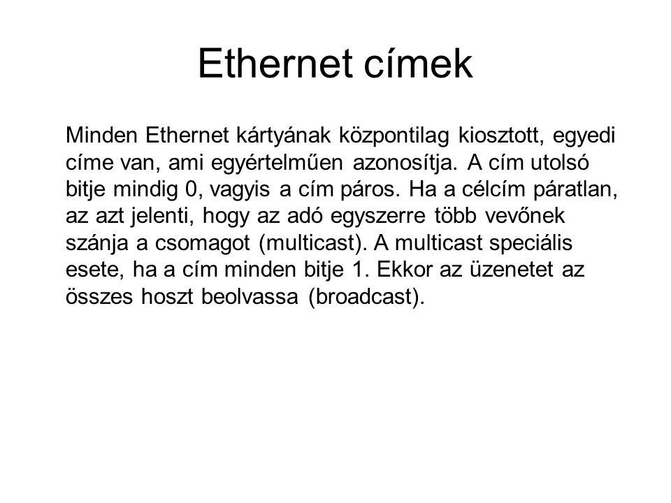 Ethernet címek Minden Ethernet kártyának központilag kiosztott, egyedi címe van, ami egyértelműen azonosítja. A cím utolsó bitje mindig 0, vagyis a cí
