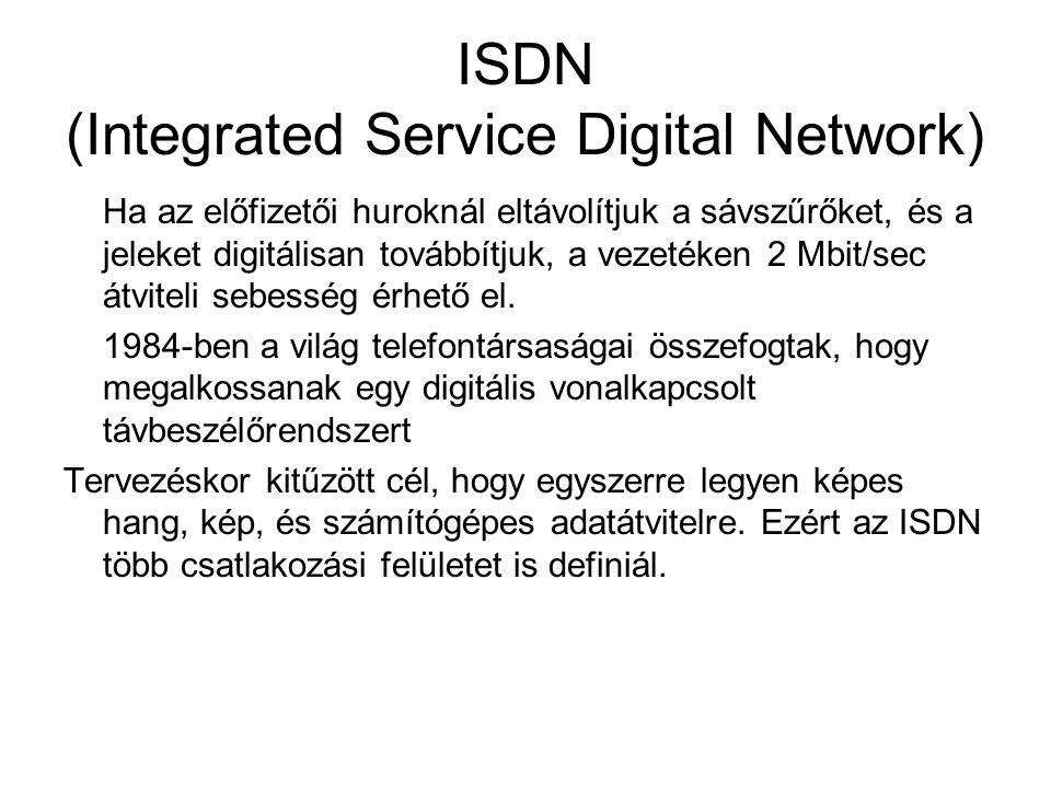ISDN (Integrated Service Digital Network) Ha az előfizetői huroknál eltávolítjuk a sávszűrőket, és a jeleket digitálisan továbbítjuk, a vezetéken 2 Mb