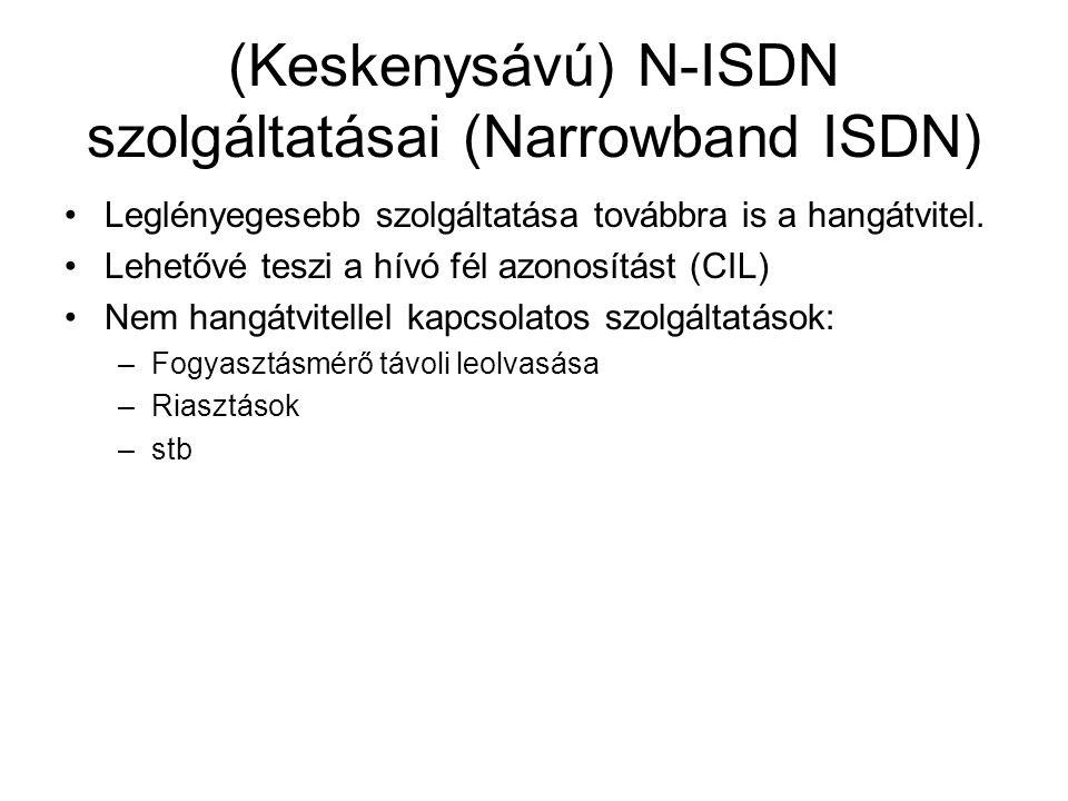(Keskenysávú) N-ISDN szolgáltatásai (Narrowband ISDN) •Leglényegesebb szolgáltatása továbbra is a hangátvitel. •Lehetővé teszi a hívó fél azonosítást