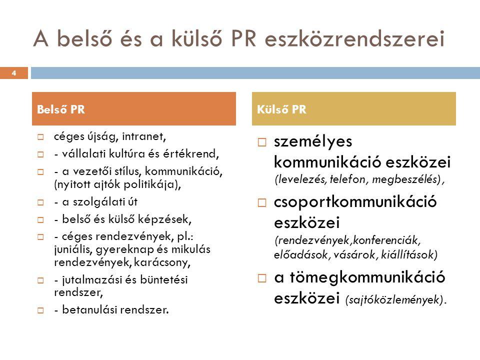 A belső és a külső PR eszközrendszerei  céges újság, intranet,  - vállalati kultúra és értékrend,  - a vezetői stílus, kommunikáció, (nyitott ajtók