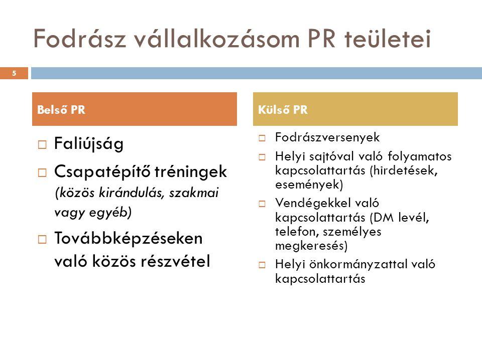 Fodrász vállalkozásom PR teületei  Faliújság  Csapatépítő tréningek (közös kirándulás, szakmai vagy egyéb)  Továbbképzéseken való közös részvétel 