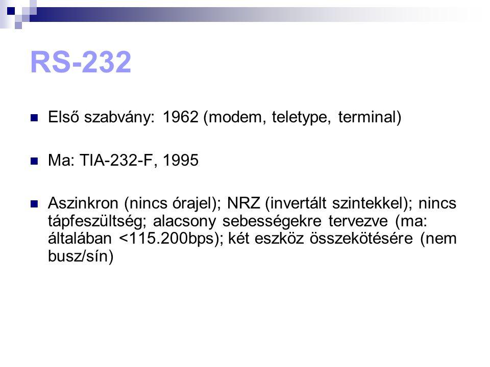 RS-232  Első szabvány: 1962 (modem, teletype, terminal)  Ma: TIA-232-F, 1995  Aszinkron (nincs órajel); NRZ (invertált szintekkel); nincs tápfeszül
