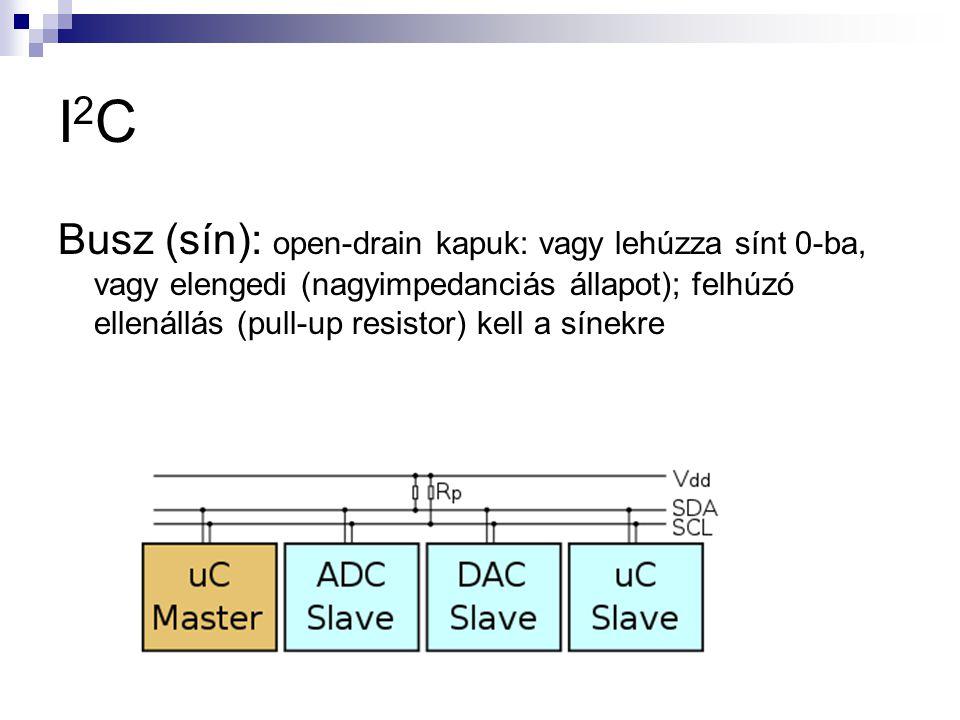 I2CI2C Busz (sín): open-drain kapuk: vagy lehúzza sínt 0-ba, vagy elengedi (nagyimpedanciás állapot); felhúzó ellenállás (pull-up resistor) kell a sín