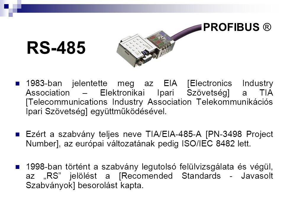 RS-485  1983-ban jelentette meg az EIA [Electronics Industry Association – Elektronikai Ipari Szövetség] a TIA [Telecommunications Industry Associati