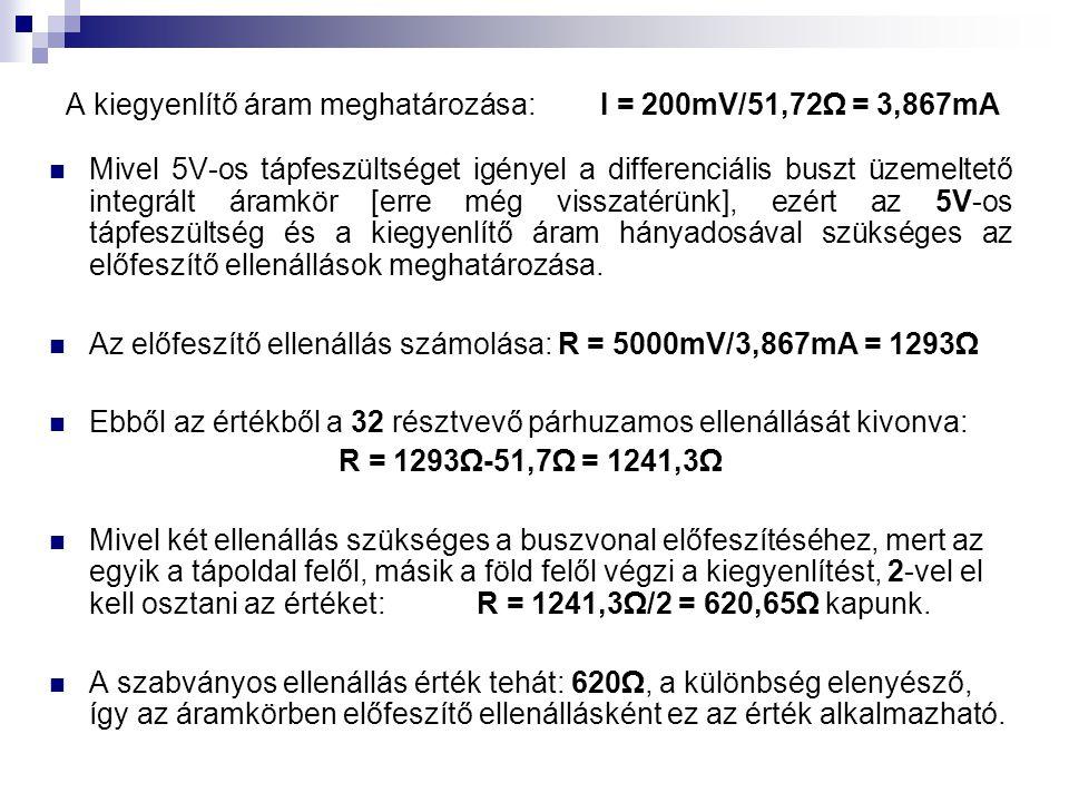 A kiegyenlítő áram meghatározása: I = 200mV/51,72Ω = 3,867mA  Mivel 5V-os tápfeszültséget igényel a differenciális buszt üzemeltető integrált áramkör