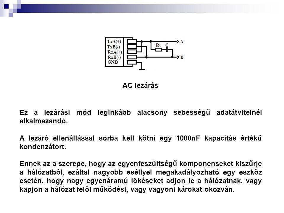 AC lezárás Ez a lezárási mód leginkább alacsony sebességű adatátvitelnél alkalmazandó. A lezáró ellenállással sorba kell kötni egy 1000nF kapacitás ér