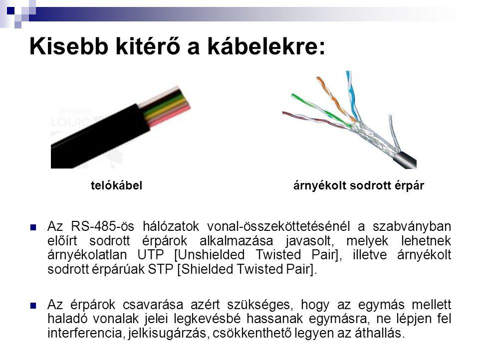 Kisebb kitérő a kábelekre:  Az RS-485-ös hálózatok vonal-összeköttetésénél a szabványban előírt sodrott érpárok alkalmazása javasolt, melyek lehetnek