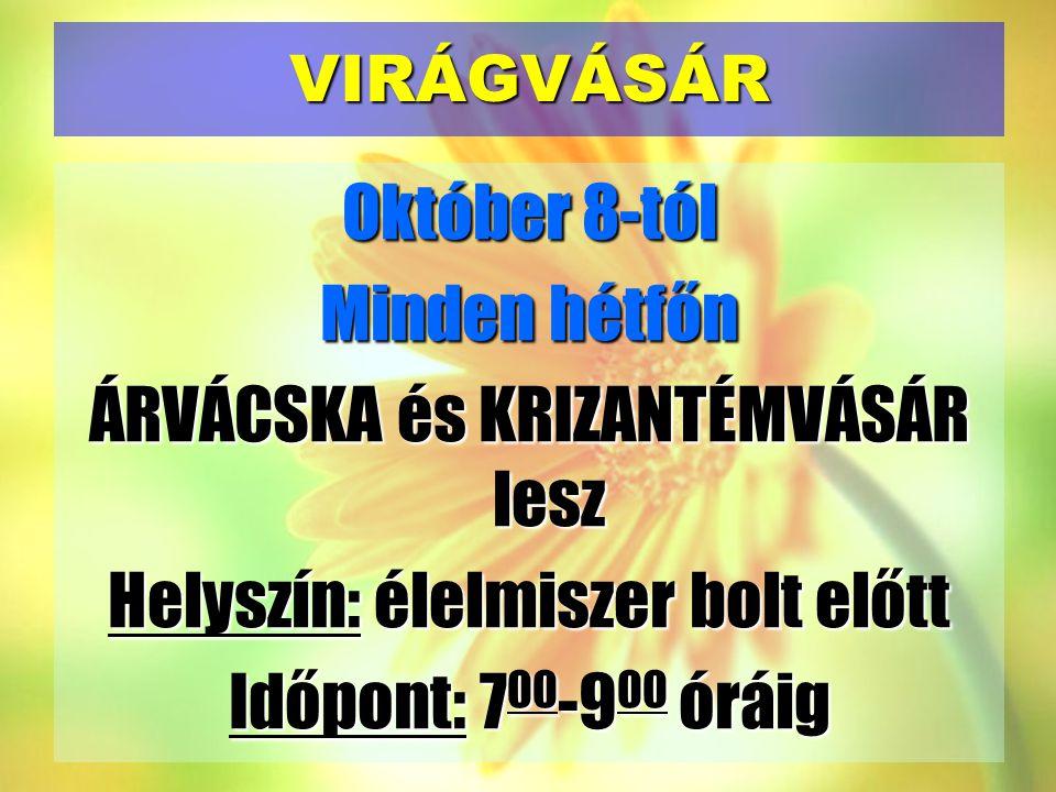 VIRÁGVÁSÁR Október 8-tól Minden hétfőn ÁRVÁCSKA és KRIZANTÉMVÁSÁR lesz Helyszín: élelmiszer bolt előtt Időpont: 700-900 óráig