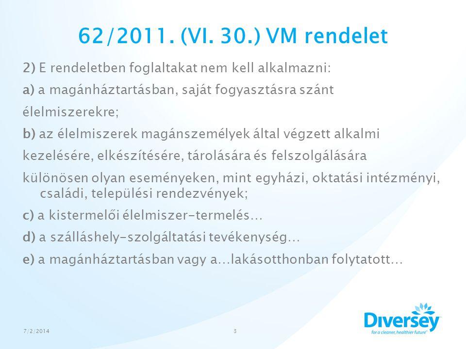 62/2011. (VI. 30.) VM rendelet 2) E rendeletben foglaltakat nem kell alkalmazni: a) a magánháztartásban, saját fogyasztásra szánt élelmiszerekre; b) a