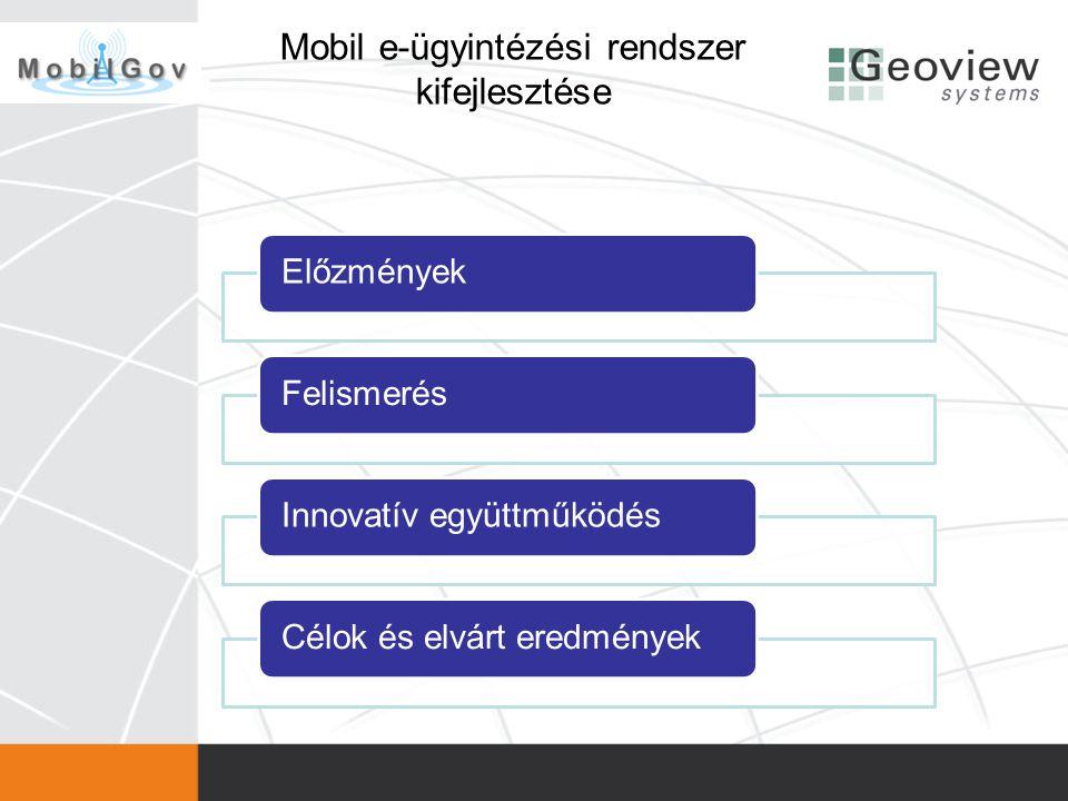 Mobil e-ügyintézési rendszer kifejlesztése ElőzményekFelismerésInnovatív együttműködésCélok és elvárt eredmények