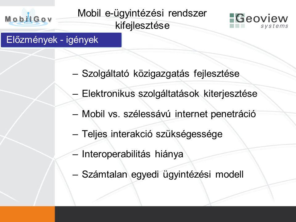 –Interoperabilitás –Ajánlások, szabványok kidolgozása –Továbbfejlesztési lehetőségek megfogalmazása –Értéknövelt szolgáltatások keretrendszere Mobil e-ügyintézési rendszer kifejlesztése Célok, elvárt eredmények