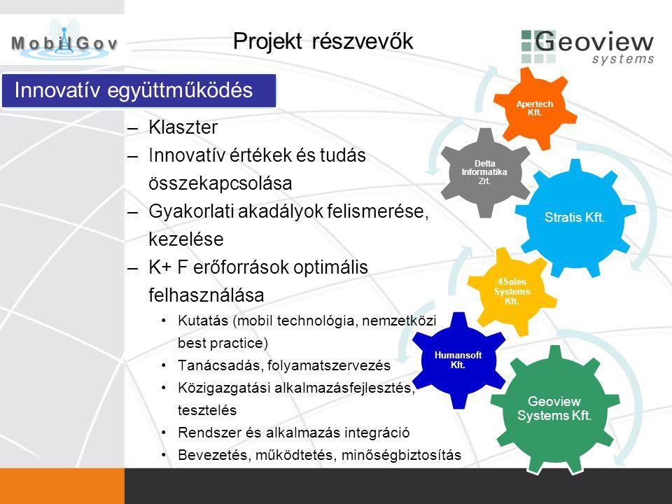 Projekt részvevők Geoview Systems Kft. Humansoft Kft. 4Sales Systems Kft. Stratis Kft. Delta Informatika Zrt. Apertech Kft. Innovatív együttműködés –K