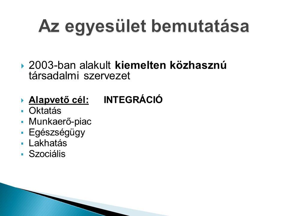  2003-ban alakult kiemelten közhasznú társadalmi szervezet  Alapvető cél: INTEGRÁCIÓ  Oktatás  Munkaerő-piac  Egészségügy  Lakhatás  Szociális