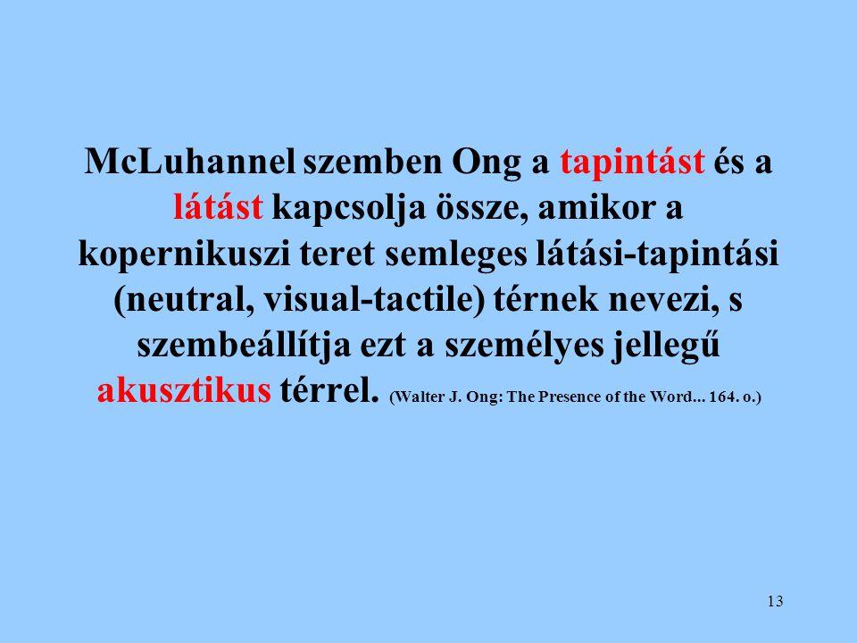 13 McLuhannel szemben Ong a tapintást és a látást kapcsolja össze, amikor a kopernikuszi teret semleges látási-tapintási (neutral, visual-tactile) tér