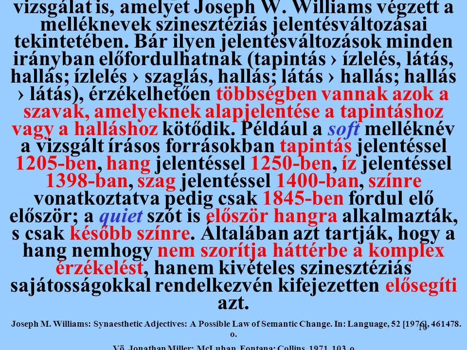 16 A hangingerek alapvető szerepéről tanúskodik az a vizsgálat is, amelyet Joseph W. Williams végzett a melléknevek szinesztéziás jelentésváltozásai t