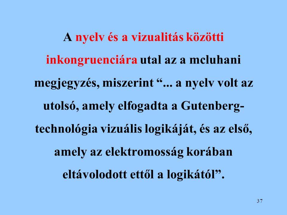 """37 A nyelv és a vizualitás közötti inkongruenciára utal az a mcluhani megjegyzés, miszerint """"... a nyelv volt az utolsó, amely elfogadta a Gutenberg-"""