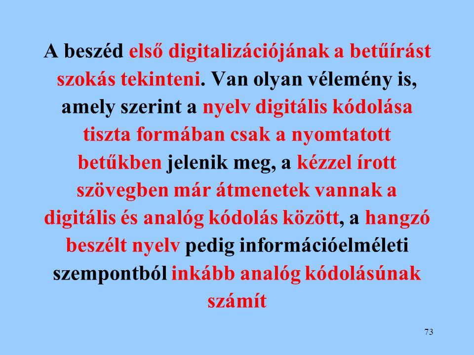 73 A beszéd első digitalizációjának a betűírást szokás tekinteni. Van olyan vélemény is, amely szerint a nyelv digitális kódolása tiszta formában csak