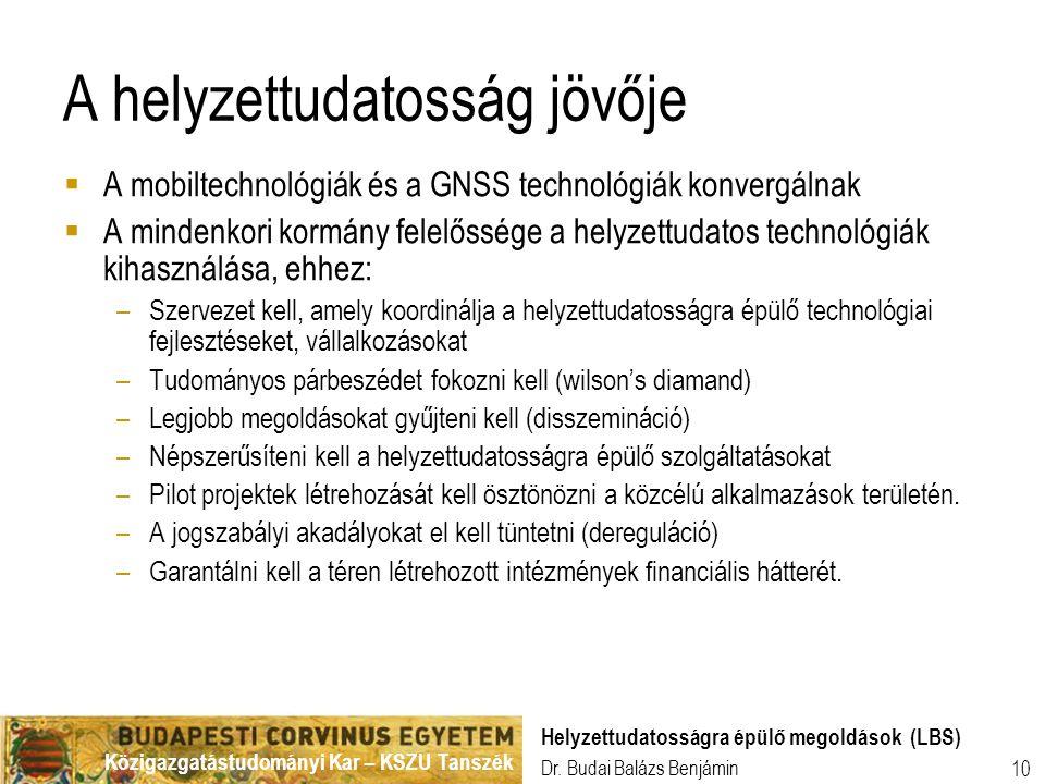 Közigazgatástudományi Kar – KSZU Tanszék Dr. Budai Balázs Benjámin Helyzettudatosságra épülő megoldások (LBS) 10 A helyzettudatosság jövője  A mobilt