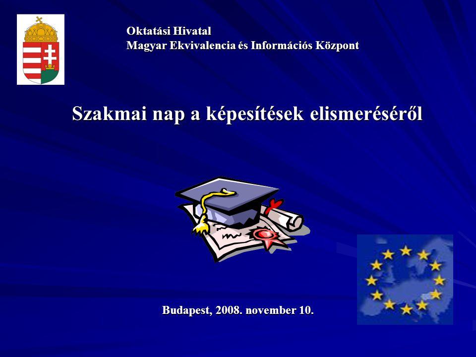 Szakmai nap a képesítések elismeréséről Oktatási Hivatal Magyar Ekvivalencia és Információs Központ Budapest, 2008.
