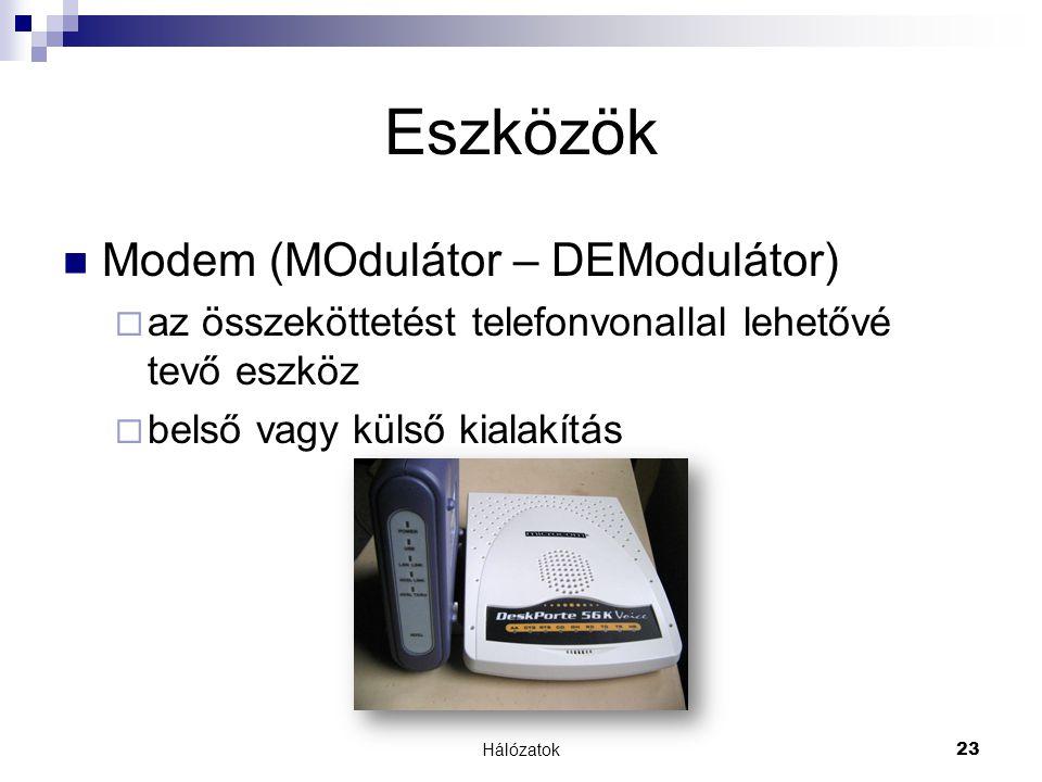 Hálózatok 23 Eszközök  Modem (MOdulátor – DEModulátor)  az összeköttetést telefonvonallal lehetővé tevő eszköz  belső vagy külső kialakítás