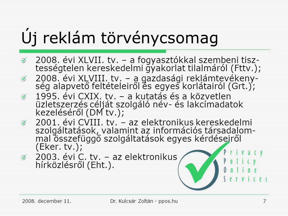Új reklám törvénycsomag 2008. évi XLVII. tv.