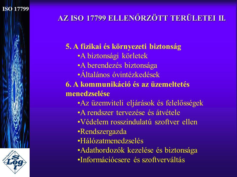 AZ ISO 17799 ELLENŐRZÖTT TERÜLETEI II. 5. A fizikai és környezeti biztonság •A biztonsági körletek •A berendezés biztonsága •Általános óvintézkedések