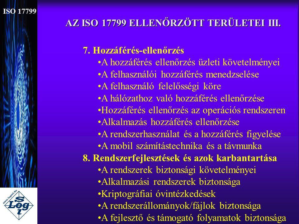 AZ ISO 17799 ELLENŐRZÖTT TERÜLETEI III. 7. Hozzáférés-ellenőrzés •A hozzáférés ellenőrzés üzleti követelményei •A felhasználói hozzáférés menedzselése
