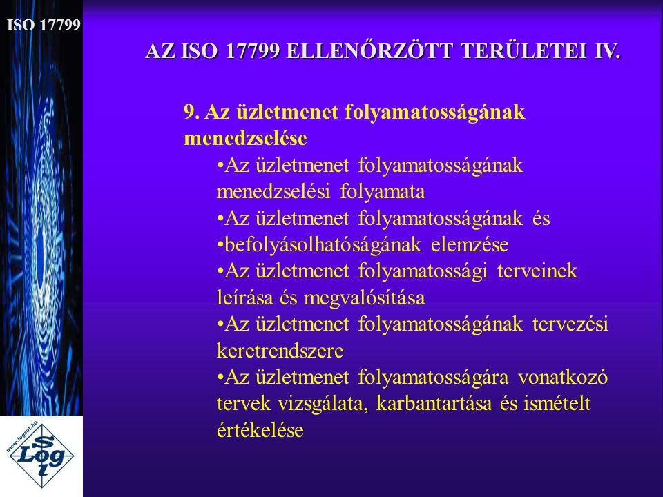 AZ ISO 17799 ELLENŐRZÖTT TERÜLETEI IV. 9. Az üzletmenet folyamatosságának menedzselése •Az üzletmenet folyamatosságának menedzselési folyamata •Az üzl