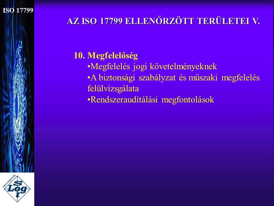AZ ISO 17799 ELLENŐRZÖTT TERÜLETEI V. 10. Megfelelőség •Megfelelés jogi követelményeknek •A biztonsági szabályzat és műszaki megfelelés felülvizsgálat