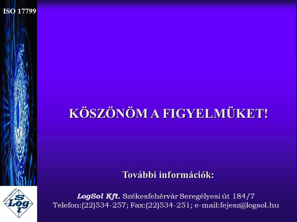 KÖSZÖNÖM A FIGYELMÜKET! További információk: LogSol Kft. Székesfehérvár Seregélyesi út 184/7 Telefon:(22)534-257; Fax:(22)534-251; e-mail:fejesz@logso