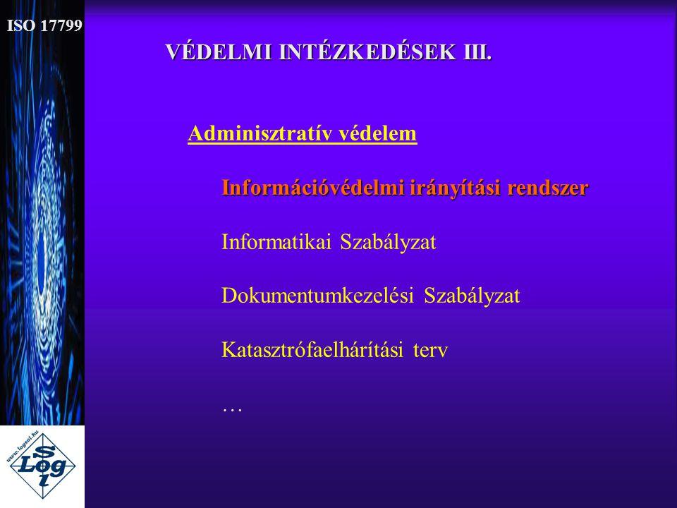 VÉDELMI INTÉZKEDÉSEK III. Adminisztratív védelem Információvédelmi irányítási rendszer Informatikai Szabályzat Dokumentumkezelési Szabályzat Katasztró