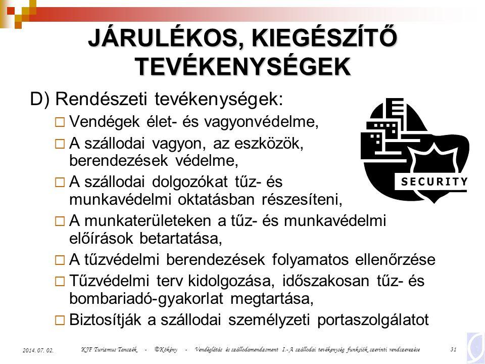 KJF Turizmus Tanszék - ©Kökény - Vendéglátás és szállodamendzsment I.- A szállodai tevékenység funkciók szerinti rendszerezése31 2014. 07. 02. JÁRULÉK