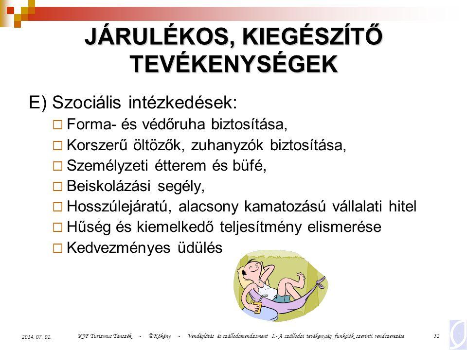 KJF Turizmus Tanszék - ©Kökény - Vendéglátás és szállodamendzsment I.- A szállodai tevékenység funkciók szerinti rendszerezése32 2014. 07. 02. JÁRULÉK