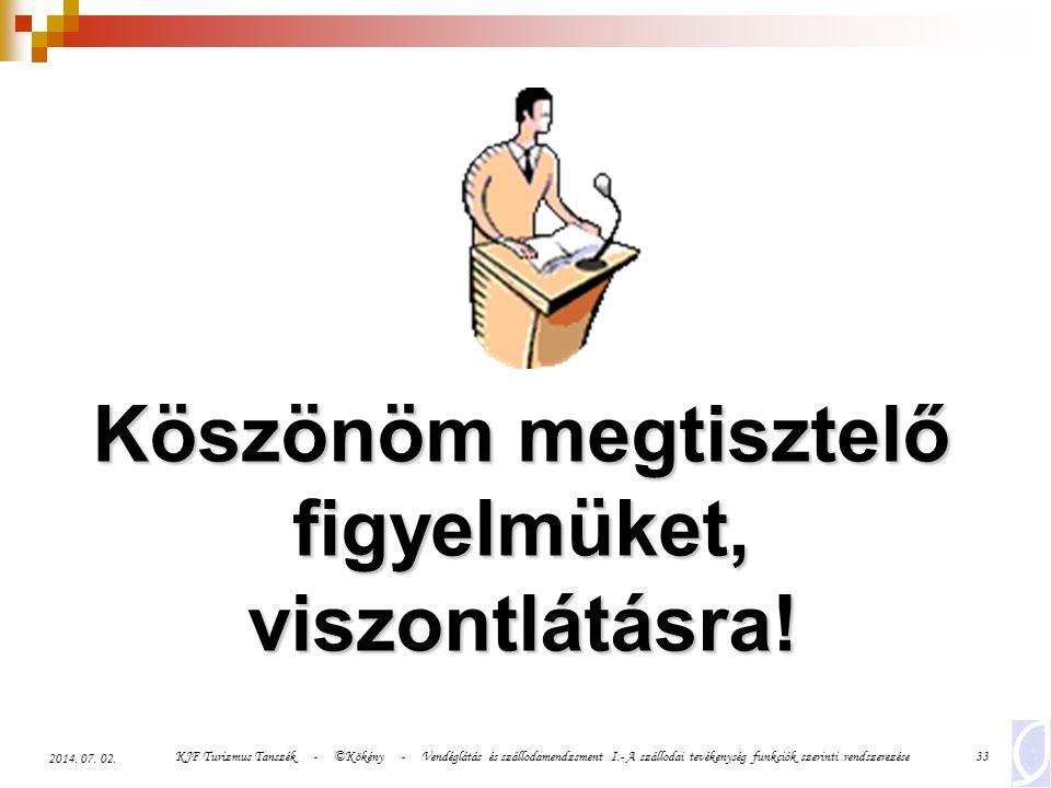 KJF Turizmus Tanszék - ©Kökény - Vendéglátás és szállodamendzsment I.- A szállodai tevékenység funkciók szerinti rendszerezése33 2014. 07. 02. Köszönö