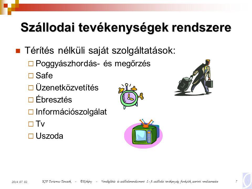 KJF Turizmus Tanszék - ©Kökény - Vendéglátás és szállodamendzsment I.- A szállodai tevékenység funkciók szerinti rendszerezése7 2014. 07. 02. Szálloda