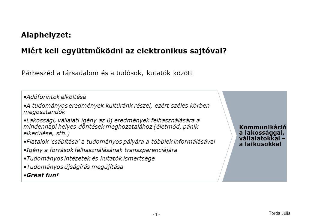 Torda Júlia - 1 - Alaphelyzet: Miért kell együttműködni az elektronikus sajtóval.